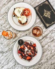 Vegan banana bread French toast and vegan Benedict. // Kindred in San Diego