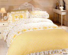 Vintage Rose Duvet Cover Set Frilled Cotton Blend Yellow Double King Quilt Bed