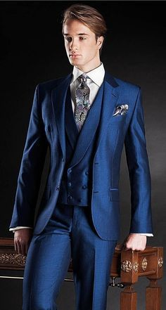 Latest Coat Pant Designs Blue Double Breasted Italian Custom Wedding Suits For Men Bridegroom Slim Fit Jacket 3 Pieces Tuxedo A7