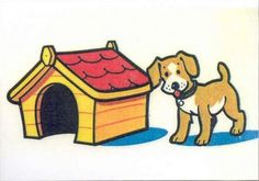 Prepositions. The dog is on the right side of the kennel.