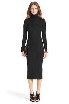 Knit Turtleneck Dress In Black