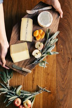 cheese platter- adding some fresh herbs on the side looks elegant and rustic