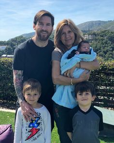 Messi with his mom and three sons