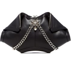 Alexander McQueen De Manta Leather Clutch (5.585 RON) ❤ liked on Polyvore featuring bags, handbags, clutches, black, foldover clutches, chain-strap handbags, genuine leather purse, embellished handbags and leather purses