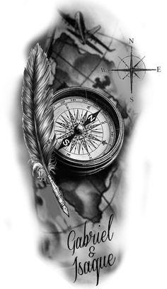 Compass And Map Tattoo, Nautical Compass Tattoo, Nautical Tattoos, Clock Tattoo Design, Compass Tattoo Design, Ship Tattoo Sleeves, Sleeve Tattoos, Family Tattoo Designs, Tattoo Designs Men