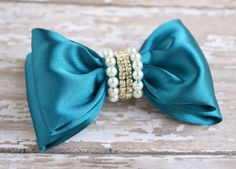 Burgundy Hair Bow Blue Hair Clip Fabric by LilMajestyBoutique
