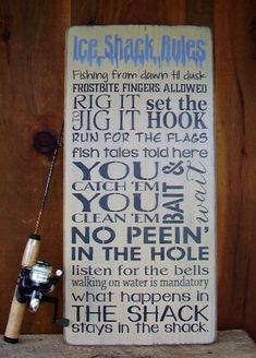 Wood Sign Ice Fishing Ice Shack Rules by RusticNorthern on Etsy