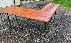 "L-shaped Desk. Black iron pipe L-shaped desk. Reclaimed wood/ Industrial/ Corner/ Rustic Desk. Side 1: 90"" L X 24""W - $1,250.00 + Side 2: 84""L X 24"" W - $1,250.00 = $2,500.00"