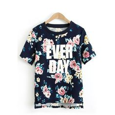 Flowers Printing High-low Hem Casual T-shirt ($23) ❤ liked on Polyvore featuring tops, t-shirts, shirts, blue shirt, flower t shirt, flower shirt, blue t shirt and blue tee