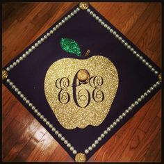 Monogram Apple education major teacher graduation cap