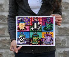 Coffee Cups Art Kitchen Wall Decor Art Poster by HeatherGallerArt