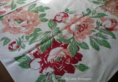 Vintage Floral Print Tablecloth Large Pink by 4HollyLaneAntiques, $65.00