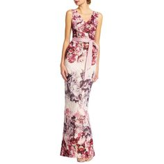 Adrianna Papell Sleeveless Berry Matelasse Gown ($249) ❤ liked on Polyvore featuring dresses, gowns, shell multi, floral evening gown, floral ball gown, floral wrap dress, adrianna papell dress and floral dresses