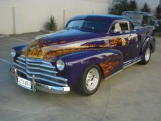 1947 Chev Coupe Ute hot rod. Mounted on a Holden 1 tonne chassis. Chopped top & sectioned bonnet.