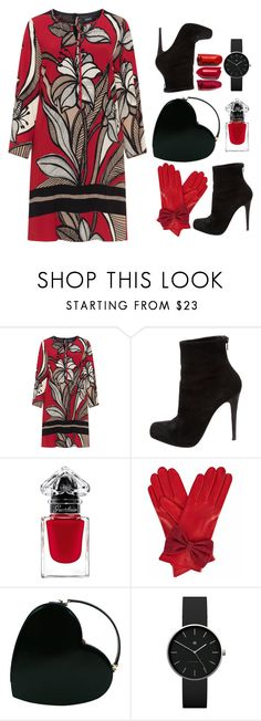 """""""Winter floral dress"""" by onelittleme ❤ liked on Polyvore featuring navabi, Christian Louboutin, Gizelle Renee, Moschino, Newgate, Winter, black, red and dress"""
