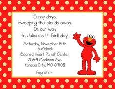 Elmo birthday party invitation ideas