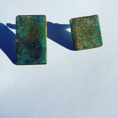 Verdigris earrings. Handmade jewellery. Brass and natural patina made with water, salt and ammonia. Green blue geometric earrings