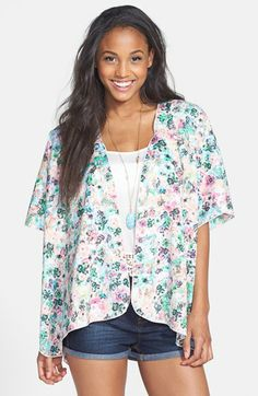 Band of Gypsies Floral Print Kimono Cardigan (Juniors) | Nordstrom