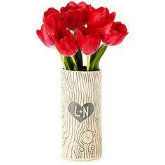 Laurel Begley Personalized Faux Bois Vase ($90) ❤ liked on Polyvore featuring home, home decor, vases, flowers, fillers, decor, gray home decor, tree home decor, handmade home decor and heart vase