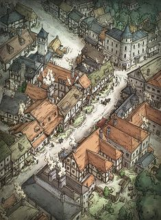 The Shopping District map cartography isometric closeup (Not Trusty Sword art: click artwork for source) Fantasy Map Making, Fantasy City Map, Fantasy Town, Fantasy Castle, Fantasy Places, Fantasy Rpg, Medieval Fantasy, Fantasy World, Dungeons And Dragons