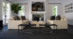 PRESTON LEE DESIGN Beverly Hills, TV Room, Equestrian, Custom, Leather, Black and White, Fornasetti, Classic