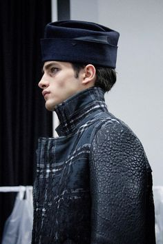 Emporio Armani AW15 blue hat, check, Mens, Dazed backstage
