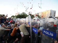 Turkey's crowds return, armed only with flowers Unrest gripped Turkey again last night as tens of thousands of anti-government protesters took to the streets of Istanbul, and police answered them with tear gas, water cannon and clubs.