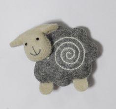 Sheep - symbol of 2015. Magnet. Felt and cotton - 100% natural. Handmade by Tumar Art Group, Kyrgyz Republic.