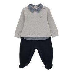 Shirt Collar Pyjamas Grey Il Gufo Fashion Baby