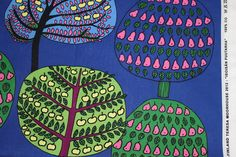 Marimekko fabric, Isoisän Puutarha 50x145cm, blue, by Teresa Moorhouse