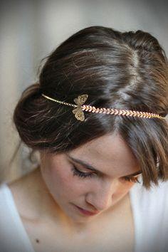 Headband / Bijou de tête doré papillon élastique : Accessoires coiffure par un-air-de-filles