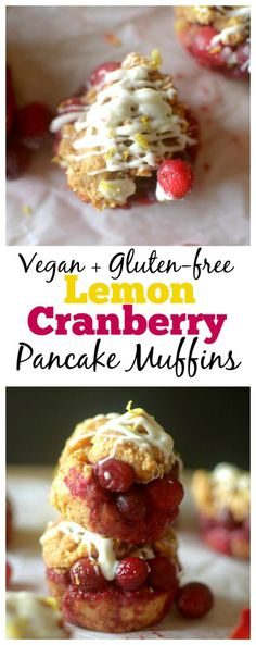 Healthy Lemon Cranberry Peek-A-Boo Pancake Muffins are bursting with juicy cranberries and drizzled with white chocolate, for a simple recipe made easy with pancake mix! Also gluten-free and vegan options! Zucchini Muffins, Muffins Blueberry, Almond Muffins, Pancake Muffins, Delicious Vegan Recipes, Healthy Breakfast Recipes, Healthy Baking, Brunch Recipes, Yummy Food