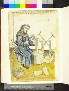 Amb 317.2 ° folio 78 verso 1457 The skirt-maker sitting on his stool in front of the factory block and splices with an ax a square wood he pressed perpendicular to the unit block. To the right, some in a box, a Garnwinde, left in the background hangs a rock bar, while up front, next to the empty chip basket, two Pickguards called Bleuel lie.