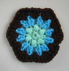 Free Crochet Pattern(s): Puff Flower Hexagon & Half Hex