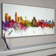 Liverpool England City Skyline by artPause, the perfect gift for Explore more unique gifts in our curated marketplace. Skyline Painting, Skyline Art, Canvas Art Prints, Fine Art Prints, Liverpool Skyline, Plain White Background, Liverpool England, Art Original, Art Mural