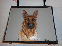 German Shepherd Dog Hand Painted Bag Handbag by daniellesoriginals