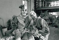 Who are those clowns? Paul and Linda McCartney, that's who. They're pictured on Mardi Gras 1975. The two were in town recording the album 'Venus & Mars' with their band Wings. (Photo by Sidney Smith)