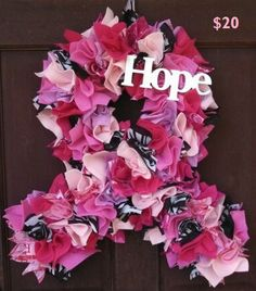 Breast Cancer Awareness Support Hope Wreath/Ribbon