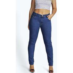 Boohoo Plus Plus Christine Indigo Skinny Jeans ( 26) ❤ liked on Polyvore  featuring jeans 2603c602a50