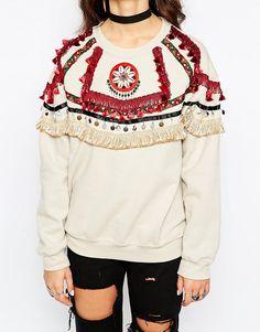 Image 3 ofReclaimed Vintage Premium Oversized Festival Sweatshirt With Trims & Poms