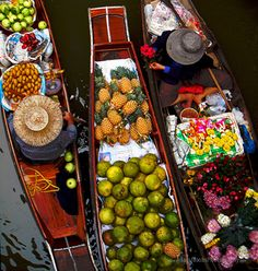 Floating Market  An aerial view of the floating market located just outside of Bangkok, Thailand.