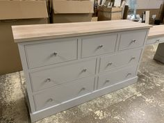 Bespoke solid oak and pine chest of drawers with built in vanity. Painted with Farrow and Ball. Pine Furniture, Solid Wood Furniture, Built In Dressing Table, Built In Vanity, Pine Chests, Crafts Beautiful, Furniture Companies, Chest Of Drawers, Solid Oak
