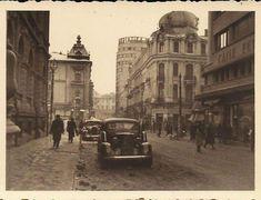 Cinema si Hotel Bristol (Esplanade) | Bucurestii Vechi si Noi ebruarie 1942 si Prefectura Judetului Ilfov. Strada Academiei şi fostul Hotel Esplanade (Bristol). Pe blocul Carpaţi (pe dreapta) se vede reclama Căile Ferate Române. Hotel Bristol, Bucharest, My Town, Time Travel, Romania, Vintage Photos, Cinema, Military, Memories