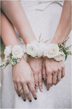White bridesmaid corsages