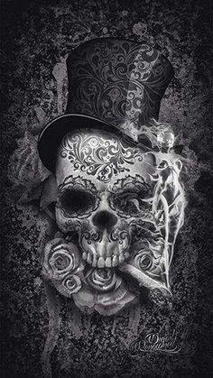 To match my girl sugar skull i have now! Digital Art Illustration, Skull Illustration, Datum Tattoo, Totenkopf Tattoos, Skull Artwork, Skull Drawings, Sugar Skull Art, Sugar Skulls, Candy Skulls