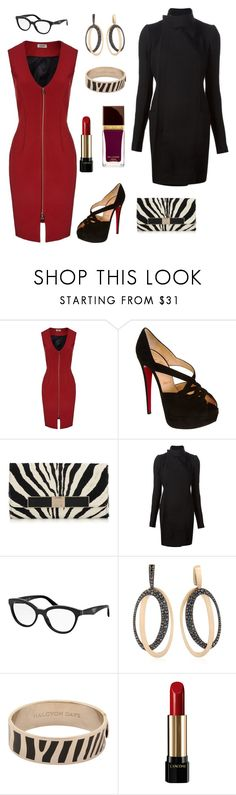 """""""Zip down red dress and zebra clutch"""" by pale-readhead ❤ liked on Polyvore featuring L'Agence, Christian Louboutin, Jimmy Choo, Rick Owens, Prada, ANTONINI, Halcyon Days, Lancôme and Tom Ford"""