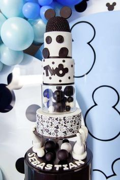 Take a look at the amazing 5 tiered black and white Mickey Mouse birthday cake at this Mickey Mouse party!!! See more party ideas and share yours at CatchMyParty.com
