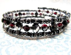 Items similar to Red, Gray, Black and Silver Beaded Memory Wire Bracelet, Beaded Wrap Bracelet, Red Crystal Bracelet on Etsy Beaded Wrap Bracelets, Memory Wire Bracelets, Love Bracelets, Crystal Bracelets, Handmade Bracelets, Fashion Bracelets, Beaded Jewelry, Unique Jewelry, Jewelry Crafts