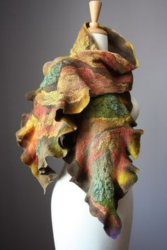 Nuno Felted scarf  Wool cotton lace  handdyed by VitalTemptation, $140.00