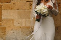 Bridal portrait White roses Long haired brunette bride Dress by Suzanne Neville Sudeley Castle Wedding Photography Image by ARJ Photography Wedding Looks, Wedding Bride, Perfect Wedding, Wedding Ceremony, Wedding Day, Wedding Dresses, Plan Your Wedding, Wedding Planning, Brunette Bride